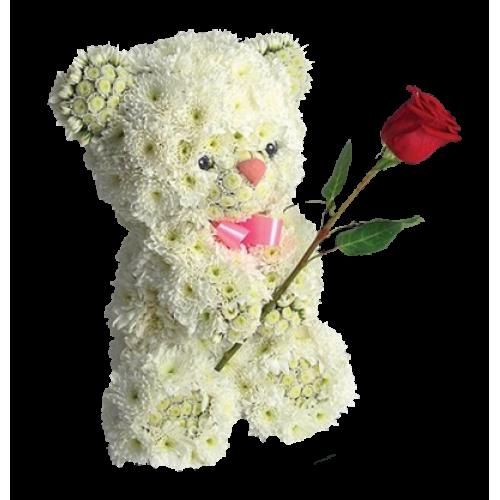 Купить на заказ Заказать Медвежонок с цветком с доставкой по Алматы с доставкой в Алматы