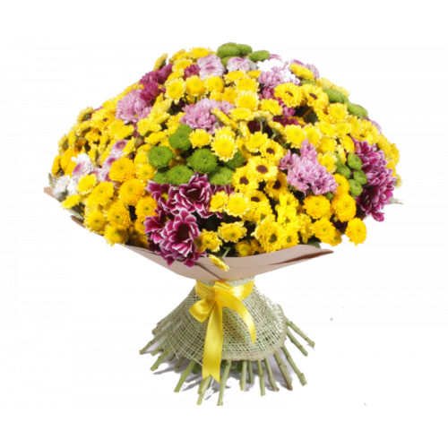Купить на заказ Заказать Букет из 101 хризантемы с доставкой по Алматы с доставкой в Алматы