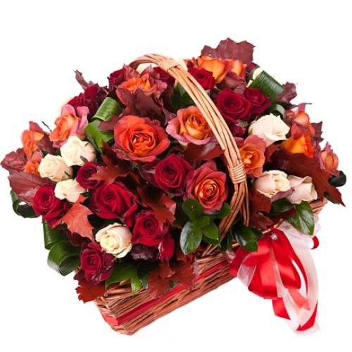 Купить на заказ Заказать Корзина с цветами 10 с доставкой по Алматы с доставкой в Алматы