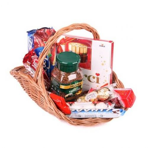 Купить на заказ Заказать Кофейно-конфетная корзина с доставкой по Алматы с доставкой в Алматы