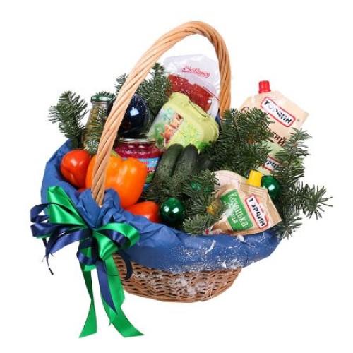 Купить на заказ Заказать Новогодняя корзина «Продуктовая» с доставкой по Алматы с доставкой в Алматы