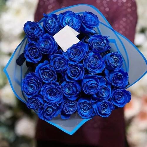 Купить на заказ Заказать 25 синих роз с доставкой по Алматы с доставкой в Алматы