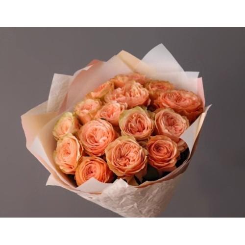 Купить на заказ Заказать 15 пионовидных роз с доставкой по Алматы с доставкой в Алматы