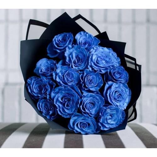Купить на заказ Заказать 15 синих роз с доставкой по Алматы с доставкой в Алматы