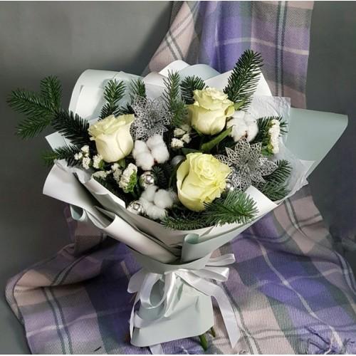 Купить на заказ Заказать Букет «Снежная королева» с доставкой по Алматы с доставкой в Алматы