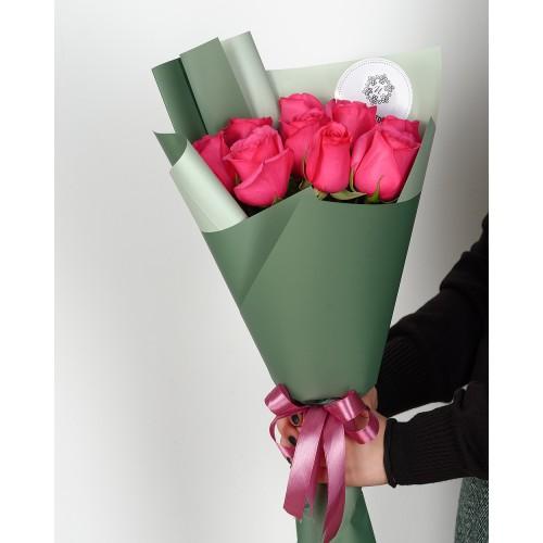Купить на заказ Букет из 7 розовых роз с доставкой в Алматы