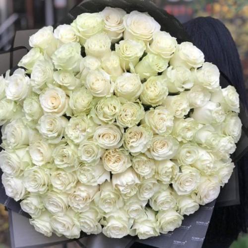 Купить на заказ Букет из 75 белых роз с доставкой в Алматы