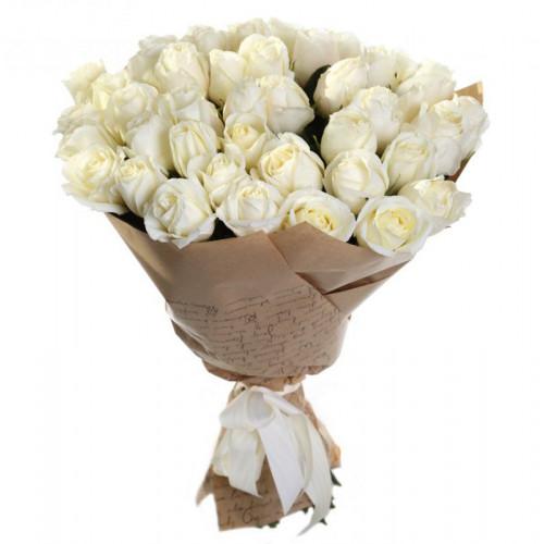 Купить на заказ Букет из 35 белых роз с доставкой в Алматы