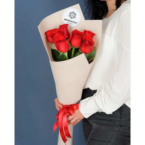 Купить на заказ Заказать Букет из 7 роз с доставкой по Алматы с доставкой в Алматы
