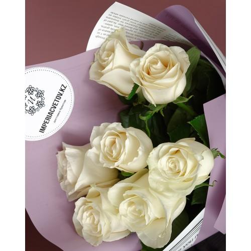 Купить на заказ Букет из 7 белых роз с доставкой в Алматы