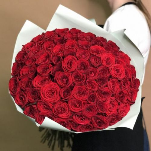 Купить на заказ Букет из 75 красных роз с доставкой в Алматы