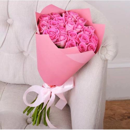 Купить на заказ Заказать Букет из 21 розовой розы с доставкой по Алматы с доставкой в Алматы