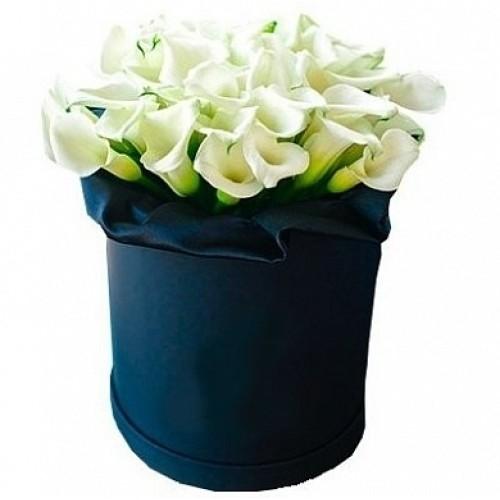 Купить на заказ Каллы в шляпной коробке (39 шт.) с доставкой в Алматы