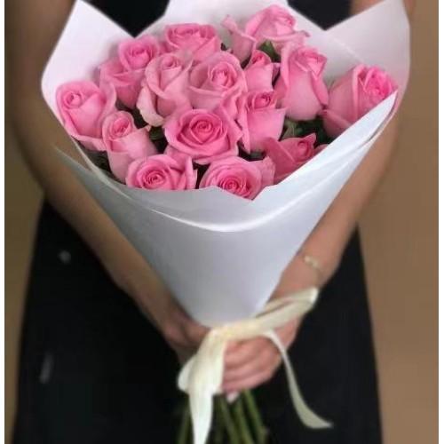 Купить на заказ Заказать 15 розовых роз с доставкой по Алматы с доставкой в Алматы