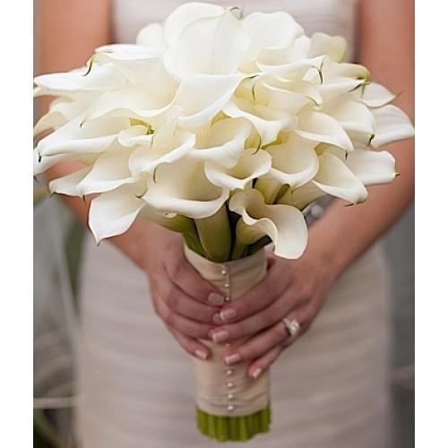 Купить на заказ Букет невесты из 37 калл с доставкой в Алматы